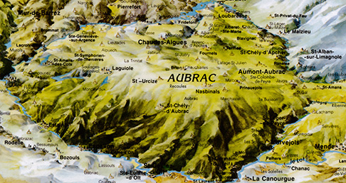 Carte du massif de l'Aubrac © Entente Vallée du Lot